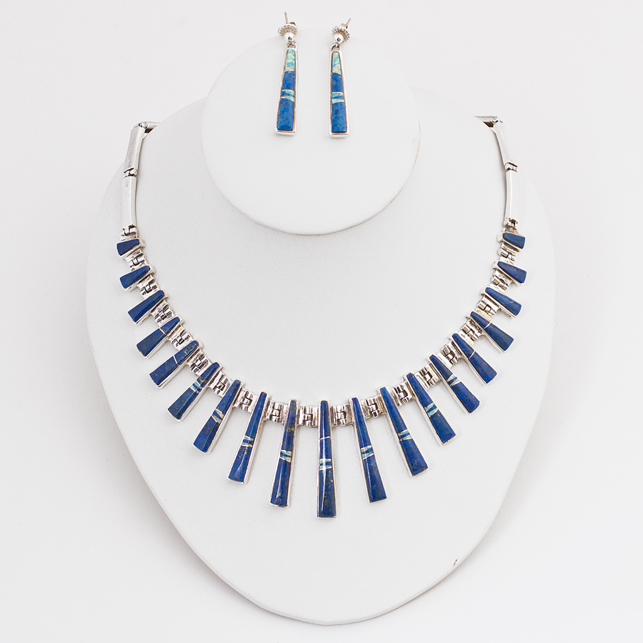 sold calvin begay lapis necklace set old town jewels