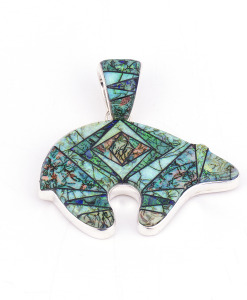 Calvin Begay Cultured Opal Bear Pendant
