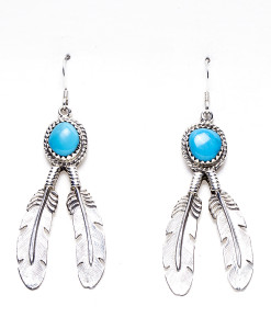 Navajo RB Dangling Feather Earrings