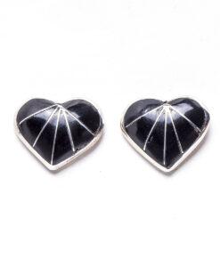 Navajo Jet Heart Shaped Earrings