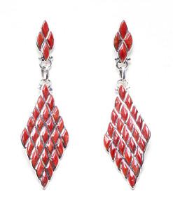 Zuni DL Chavez Coral Dangling Earrings