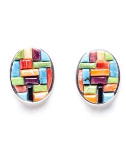 Navajo Oval Rainbow Earrings