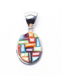 Navajo Oval Rainbow Pendant