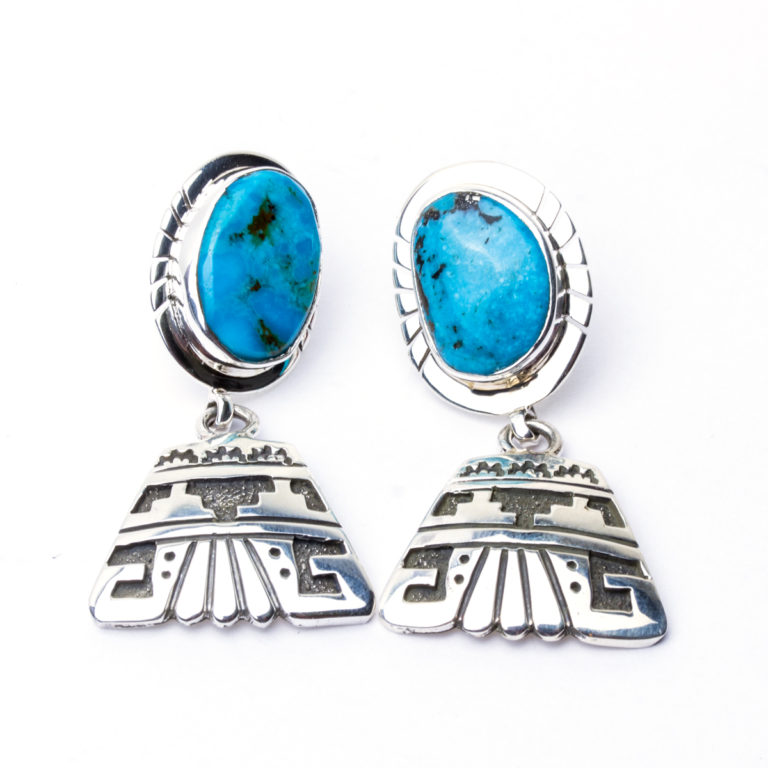 Navajo artist Sam Gray Turquoise Earrings