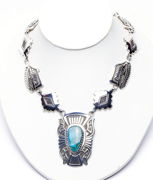 Navajo artist Sam Gray Turquoise Overlay Necklace