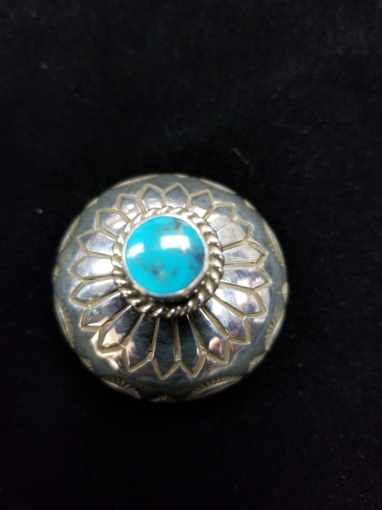 Navajo Henry Yazzie Turquoise Seed pot