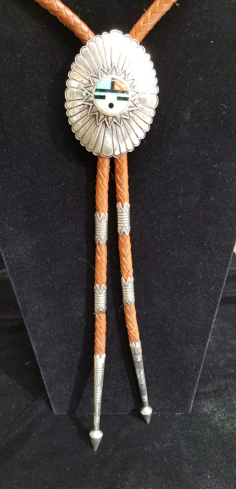 Navajo Inlaid Sunface Bolo by Henry Yazzie